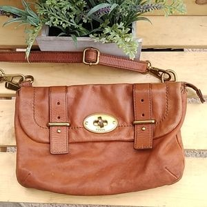 FOSSIL VINTAGE BROWN CROSSBODY PURSE GUC